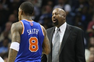 Nov 16, 2012; Memphis, TN, USA; New York Knicks head coach Mike Woodson talks to guard J.R. Smith (8) during the game against the Memphis Grizzlies at the FedEx Forum. Memphis defeated New York 105-95. Mandatory Credit: Nelson Chenault-USA TODAY Sports