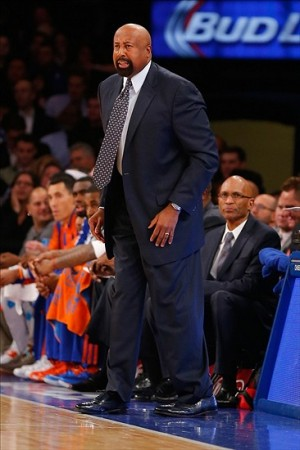 Nov 5, 2013; New York, NY, USA; New York Knicks head coach Mike Woodson during the first half against the Charlotte Bobcats at Madison Square Garden. Mandatory Credit: Jim O