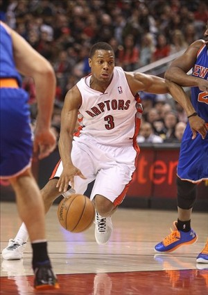 Mar 22, 2013; Toronto, ON, Canada; Toronto Raptors point guard Kyle Lowry (3) drives to the basket against the New York Knicks at the Air Canada Centre. The Knicks beat the Raptors 99-94. Mandatory Credit: Tom Szczerbowski-USA TODAY Sports