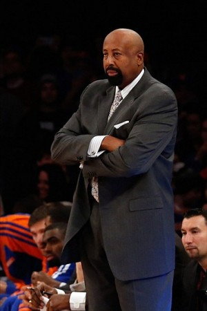 Dec 14, 2013; New York, NY, USA; New York Knicks head coach Mike Woodson during the first quarter against the Atlanta Hawks at Madison Square Garden. Mandatory Credit: Anthony Gruppuso-USA TODAY Sports