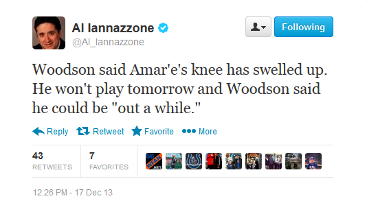 amar'e stoudemire knee injury tweet