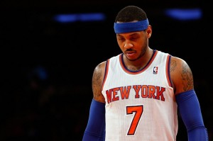 Dec 21, 2013; New York, NY, USA; New York Knicks small forward Carmelo Anthony (7) during the fourth quarter against the Memphis Grizzlies at Madison Square Garden. Memphis Grizzlies won 95-87. Mandatory Credit: Anthony Gruppuso-USA TODAY Sports