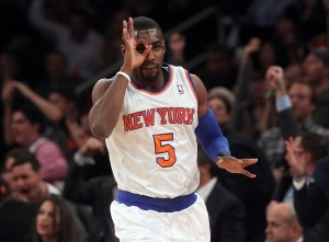 Jan 9, 2014; New York, NY, USA; New York Knicks shooting guard Tim Hardaway Jr. (5) reacts after scoring a three-point shot against the Miami Heat during the second quarter of a game at Madison Square Garden. Mandatory Credit: Brad Penner-USA TODAY Sports