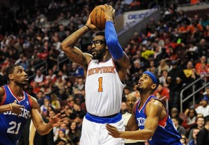 Jan 11, 2014; Philadelphia, PA, USA; New York Knicks power forward Amar
