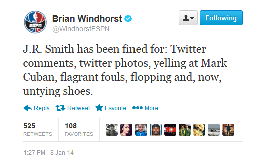 jr smith fined tweet