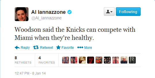 woodson knicks miami tweet