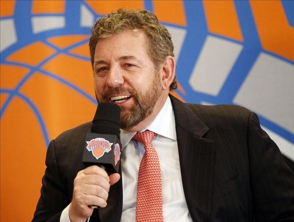 Mar 18, 2014; New York, NY, USA; Madison Square Garden chairman James Dolan introduces New York Knicks new president of basketball operations Phil Jackson (not pictured) at a press conference at Madison Square Garden. Mandatory Credit: William Perlman/THE STAR-LEDGER via USA TODAY Sports
