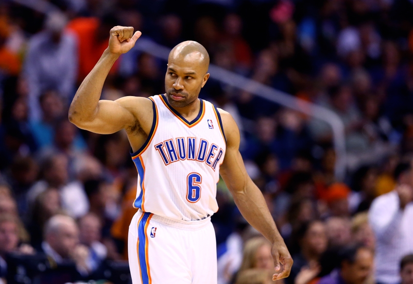 Mar 6, 2014; Phoenix, AZ, USA; Oklahoma City Thunder guard Derek Fisher (6) against the Phoenix Suns at the US Airways Center. Mandatory Credit: Mark J. Rebilas-USA TODAY Sports