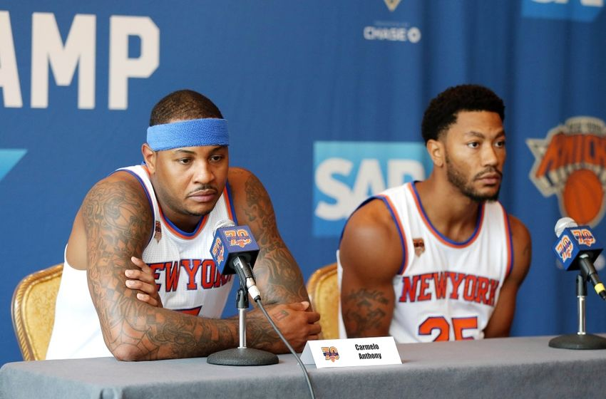 Sep 26, 2016; White Plains, NY, USA; New York Knicks forward Carmelo Anthony (left) addresses the media as point guard Derrick Rose looks on during the New York Knicks Media Day at Ritz-Carlton. Mandatory Credit: Andy Marlin-USA TODAY Sports