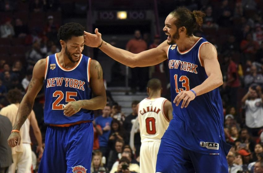 Nov 4, 2016; Chicago, IL, USA; New York Knicks center Joakim Noah (13) and New York Knicks guard Derrick Rose (25) celebrate during the second half at the United Center. The Knicks won 117-104. Mandatory Credit: David Banks-USA TODAY Sports