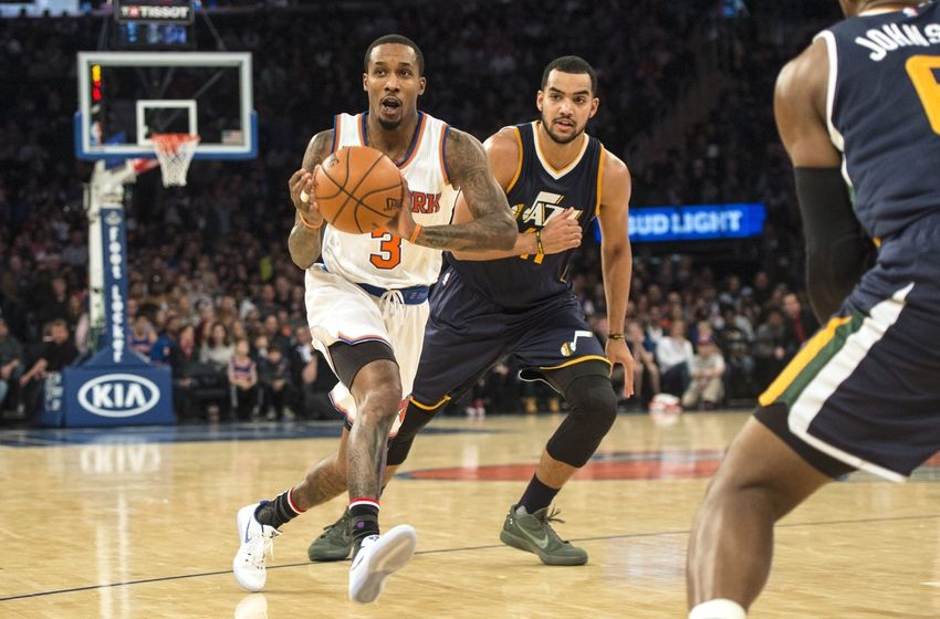 Nov 6, 2016; New York, NY, USA; New York Knicks point guard Brandon Jennings (3) makes a pass against the Utah Jazz during the second quarter at Madison Square Garden. Mandatory Credit: Gregory J. Fisher-USA TODAY Sports
