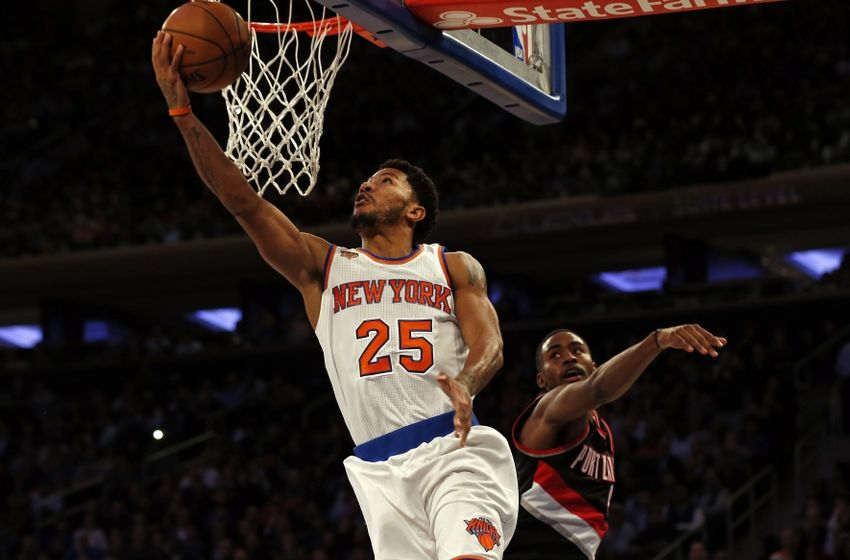 Nov 22, 2016; New York, NY, USA; New York Knicks guard Derrick Rose (25) drives to the basket past Portland Trail Blazers forward Maurice Harkless (4) during the second half at Madison Square Garden. Mandatory Credit: Adam Hunger-USA TODAY Sports