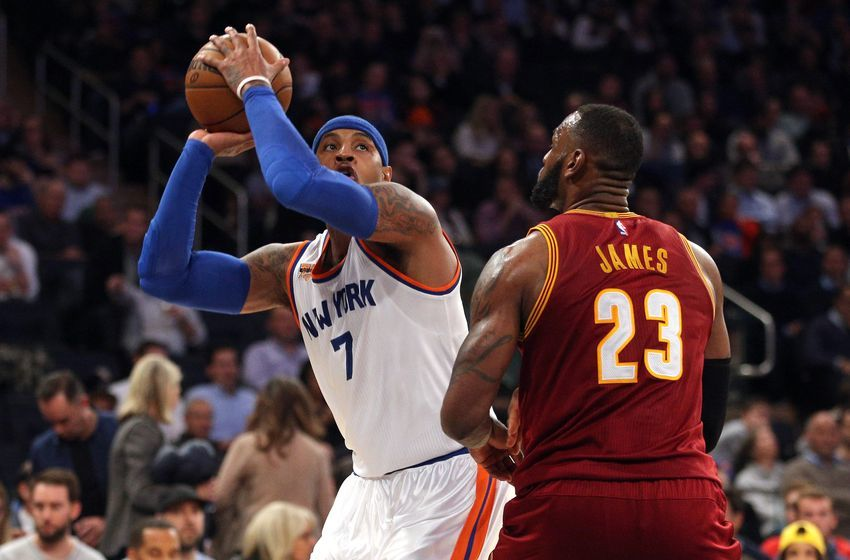 Dec 7, 2016; New York, NY, USA; New York Knicks small forward Carmelo Anthony (7) controls the ball against Cleveland Cavaliers small forward LeBron James (23) during the third quarter at Madison Square Garden. Mandatory Credit: Brad Penner-USA TODAY Sports