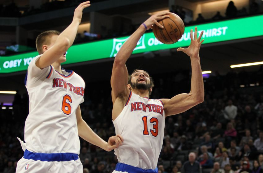 Dec 9, 2016; Sacramento, CA, USA; New York Knicks center Joakim Noah (13) rebounds the ball against the Sacramento Kings during the second half at Golden 1 Center. The Knicks defeated the Kings 103-100. Mandatory Credit: Sergio Estrada-USA TODAY Sports