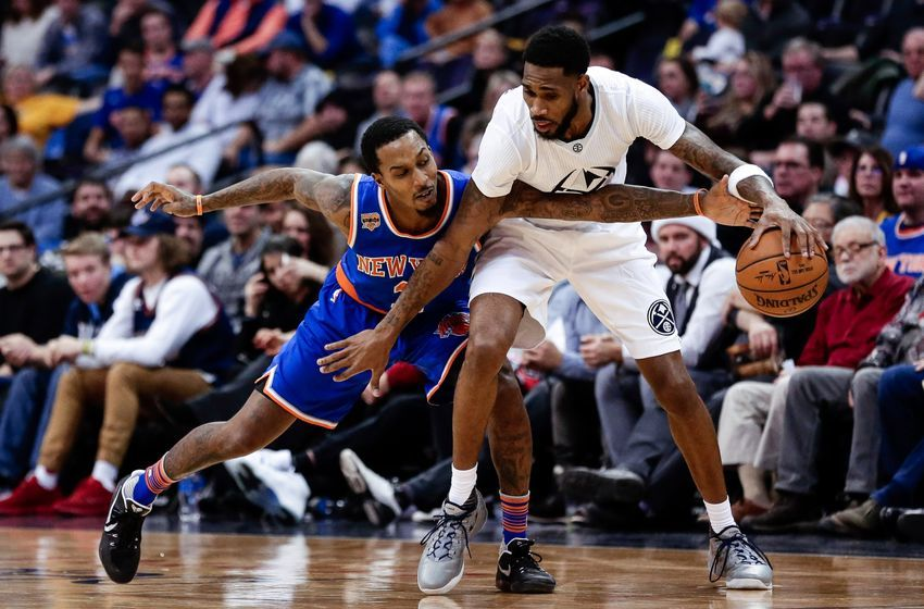 Dec 17, 2016; Denver, CO, USA; New York Knicks guard Brandon Jennings (3) reaches for the ball as Denver Nuggets guard Will Barton (5) defends in the fourth quarter at the Pepsi Center. The Nuggets won 127-114. Mandatory Credit: Isaiah J. Downing-USA TODAY Sports