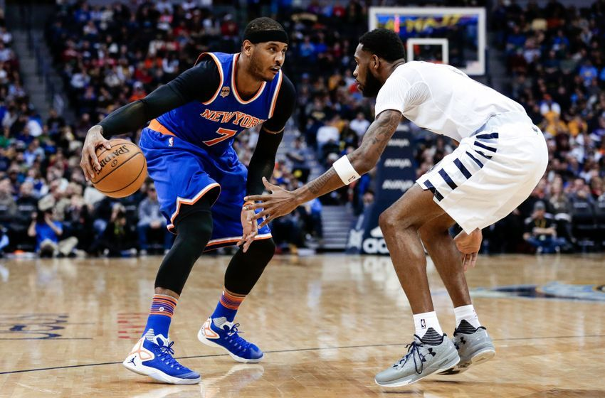 Dec 17, 2016; Denver, CO, USA; Denver Nuggets guard Will Barton (5) guards New York Knicks forward Carmelo Anthony (7) in the third quarter at the Pepsi Center. The Nuggets won 127-114. Mandatory Credit: Isaiah J. Downing-USA TODAY Sports