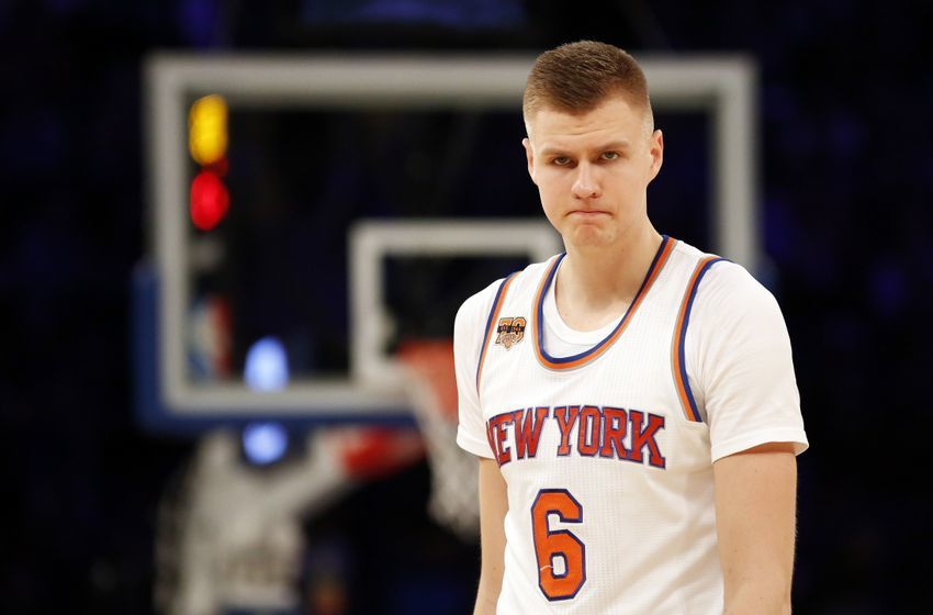 Dec 20, 2016; New York, NY, USA; New York Knicks forward Kristaps Porzingis (6) during a break in action in the second half against the Indiana Pacers at Madison Square Garden. Mandatory Credit: Adam Hunger-USA TODAY Sports