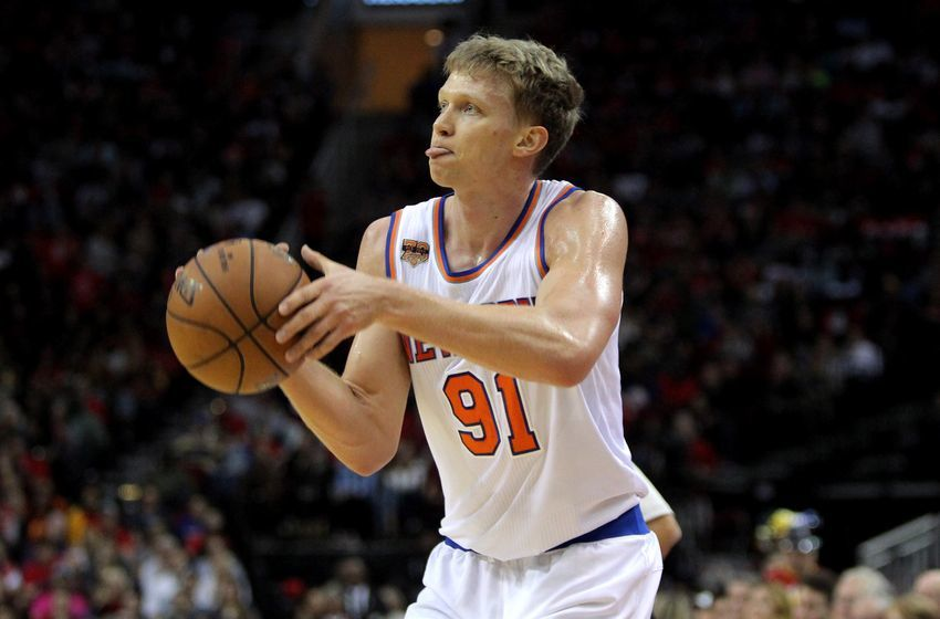 Dec 31, 2016; Houston, TX, USA; New York Knicks forward Mindaugas Kuzminskas (91) shoots a three-point shot against the Houston Rockets during the third quarter at Toyota Center. Mandatory Credit: Erik Williams-USA TODAY Sports