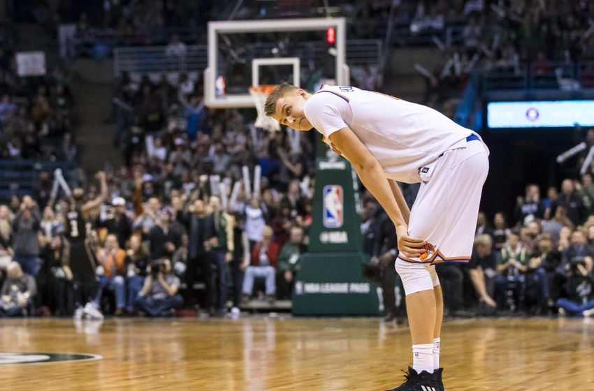 Jan 6, 2017; Milwaukee, WI, USA;  New York Knicks forward Kristaps Porzingis (6) reacts after fouling out of the game during the fourth quarter against the Milwaukee Bucks at BMO Harris Bradley Center. New York won 116-111.  Mandatory Credit: Jeff Hanisch-USA TODAY Sports
