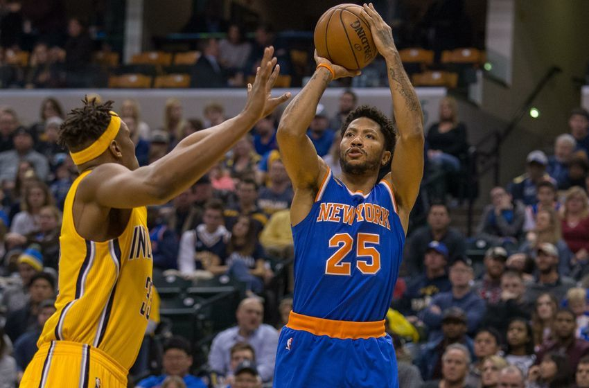 Jan 7, 2017; Indianapolis, IN, USA; New York Knicks guard Derrick Rose (25) shoots the ball while Indiana Pacers center Myles Turner (33) defends in the second quarter of the game at Bankers Life Fieldhouse. Mandatory Credit: Trevor Ruszkowski-USA TODAY Sports