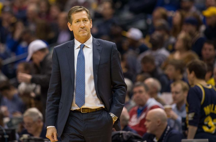 Jan 7, 2017; Indianapolis, IN, USA; New York Knicks head coach Jeff Hornacek on the sideline reacting to a foul in the second half of the game against the Indiana Pacers at Bankers Life Fieldhouse. The Indiana Pacers beat the New York Knicks 123-109.Mandatory Credit: Trevor Ruszkowski-USA TODAY Sports