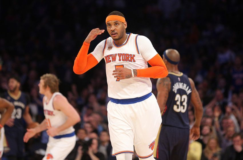 Jan 9, 2017; New York, NY, USA; New York Knicks small forward Carmelo Anthony (7) reacts after hitting a three point shot against the New Orleans Pelicans during the first quarter at Madison Square Garden. Mandatory Credit: Brad Penner-USA TODAY Sports