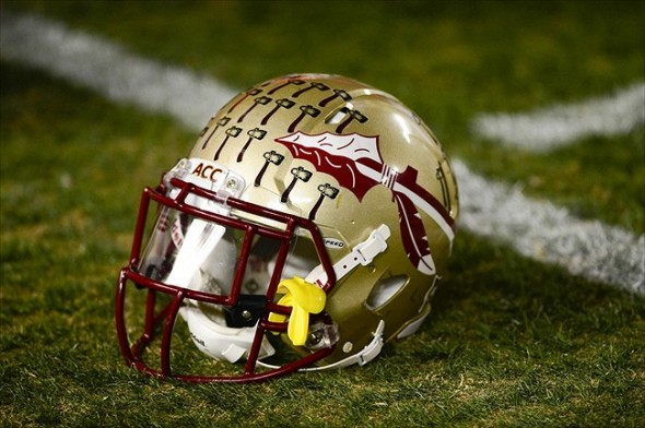 Nov 8, 2012; Blacksburg, VA, USA; A Florida State Seminoles helmet on the field before the game at Lane Stadium. Mandatory Credit: Bob Donnan-USA TODAY Sports