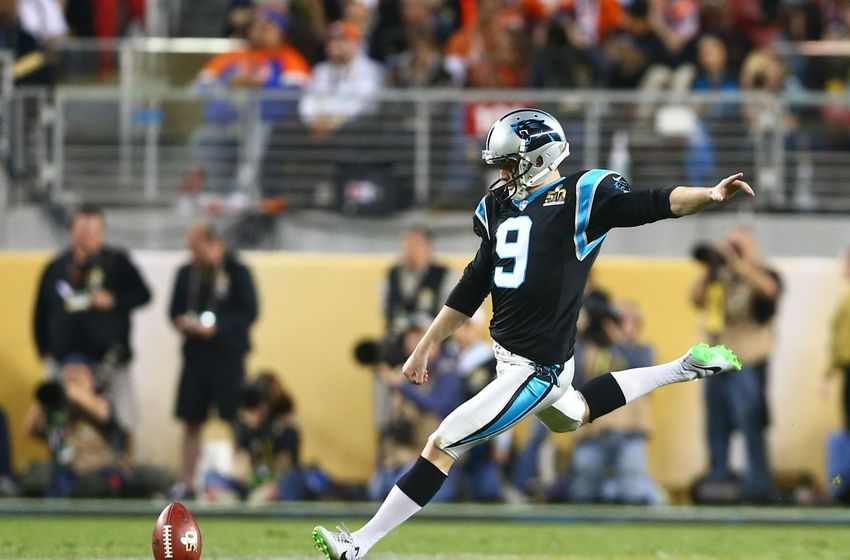 Feb 7, 2016; Santa Clara, CA, USA; Carolina Panthers kicker Graham Gano (9) against the Denver Broncos during Super Bowl 50 at Levi