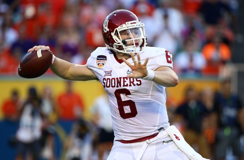 Dec 31, 2015; Miami Gardens, FL, USA; Oklahoma Sooners quarterback Baker Mayfield (6) throws against the Clemson Tigers during the first half of the 2015 CFP semifinal at the Orange Bowl at Sun Life Stadium. Mandatory Credit: Steve Mitchell-USA TODAY Sports