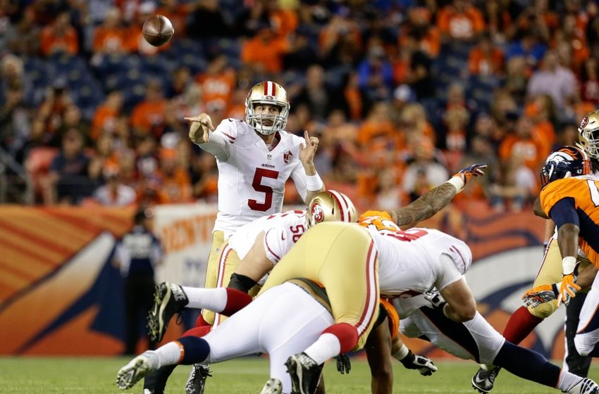 Aug 20, 2016; Denver, CO, USA; San Francisco 49ers quarterback Christian Ponder (5) passes over traffic in the fourth quarter against the Denver Broncos at Sports Authority Field at Mile High. The 49ers defeated the Broncos 31-24. Mandatory Credit: Isaiah J. Downing-USA TODAY Sports