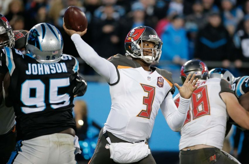 Jan 3, 2016; Charlotte, NC, USA; Tampa Bay Buccaneers quarterback Jameis Winston (3) passes a ball during the first half against the Carolina Panthers at Bank of America Stadium. The Panthers defeated the Buccaneers 38-10. Mandatory Credit: Jeremy Brevard-USA TODAY Sports