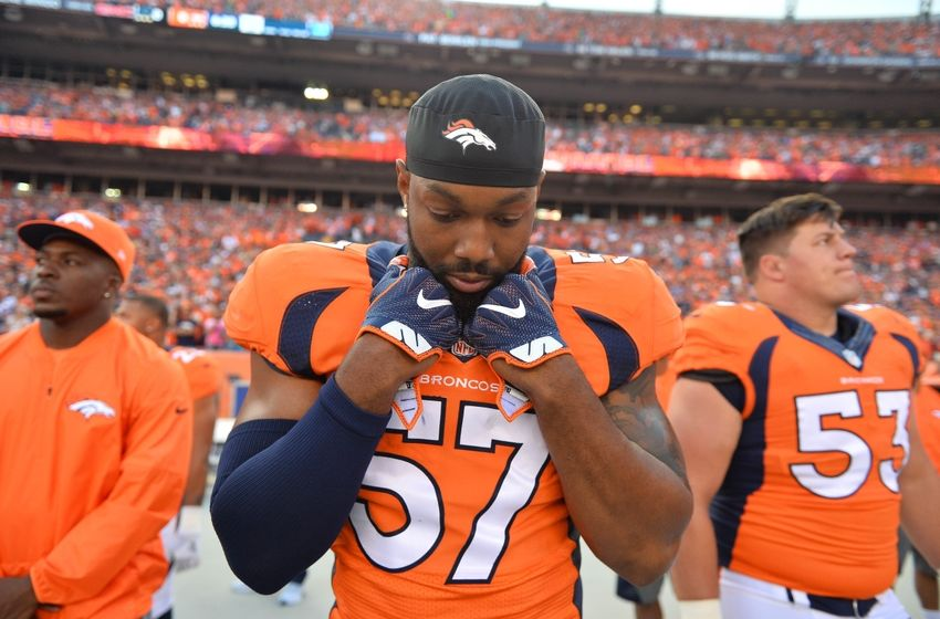 Sep 8, 2016; Denver, CO, USA; Denver Broncos linebacker Dekoda Watson (57) before the start of the game against the Carolina Panthers at Sports Authority Field at Mile High. The Broncos defeated the Panthers 21-20. Mandatory Credit: Ron Chenoy-USA TODAY Sports