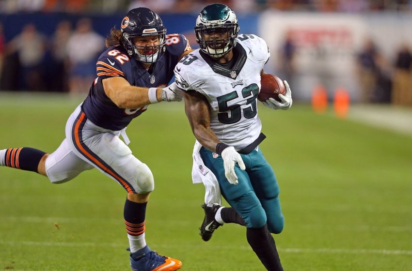 Sep 19, 2016; Chicago, IL, USA; Philadelphia Eagles linebacker Nigel Bradham (53) carries the ball after an interception as Chicago Bears tight end Logan Paulsen (82) defends during the second half at Soldier Field. Philadelphia won 29-14. Mandatory Credit: Dennis Wierzbicki-USA TODAY Sports
