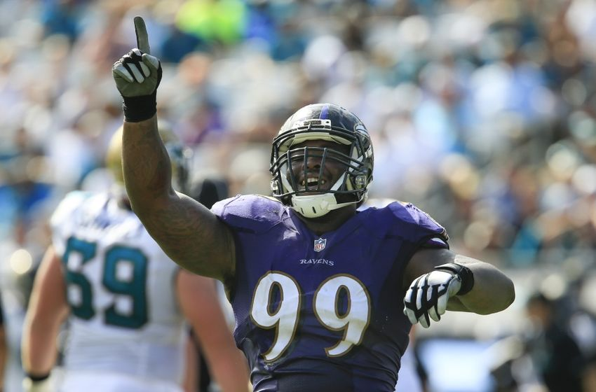 Sep 25, 2016; Jacksonville, FL, USA; Baltimore Ravens defensive end Timmy Jernigan (99) celebrates making a stop during the second half of a football game against the Jacksonville Jaguars at EverBank FieldThe Baltimore Ravens won 19-17. Mandatory Credit: Reinhold Matay-USA TODAY Sports