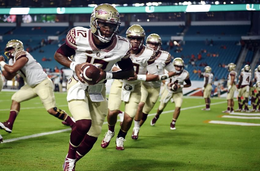 Oct 8, 2016; Miami Gardens, FL, USA; Florida State Seminoles quarterback Deondre Francois (12) warms up before a game against Miami Hurricanes at Hard Rock Stadium. Mandatory Credit: Steve Mitchell-USA TODAY Sports