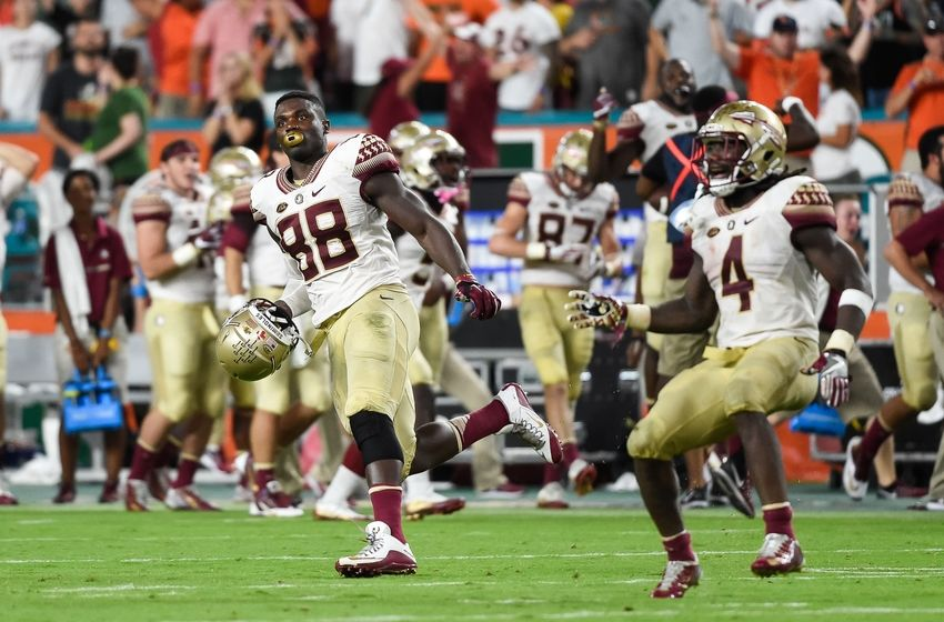 Oct 8, 2016; Miami Gardens, FL, USA; Florida State Seminoles tight end Mavin Saunders (88) celebrates during the second half against the Miami Hurricanes at Hard Rock Stadium. FSU won 20-19. Mandatory Credit: Steve Mitchell-USA TODAY Sports