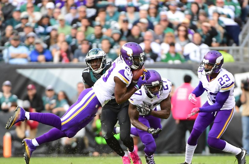 Oct 23, 2016; Philadelphia, PA, USA; Minnesota Vikings cornerback Xavier Rhodes (29) intercepts a pass during the first quarter against the Philadelphia Eagles at Lincoln Financial Field. Mandatory Credit: Eric Hartline-USA TODAY Sports