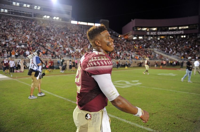Oct 29, 2016; Tallahassee, FL, USA;  Florida State Seminoles quarterback Deondre Francois (12) walks off the field after the loss to the Clemson Tigers at Doak Campbell Stadium. Mandatory Credit: Melina Vastola-USA TODAY Sports