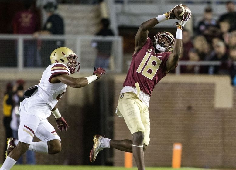 Nov 11, 2016; Tallahassee, Florida State Seminoles wide receiver Auden Tate (18) makes a first quarter catch against Boston College Eagles defensive back Lukas Denis (21) at Doak Campbell Stadium. Mandatory Credit: Glenn Beil-USA TODAY Sports