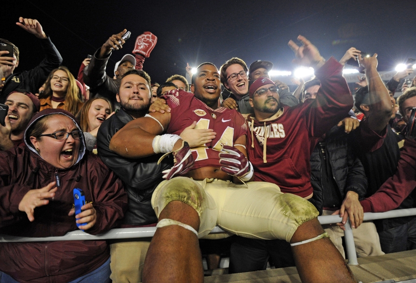 Nov 26, 2016; Tallahassee, FL, USA; Florida State Seminoles defensive end Demarcus Walker (44) celebrates after the Seminoles beat the Florida Gators at Doak Campbell Stadium. Mandatory Credit: Melina Vastola-USA TODAY Sports