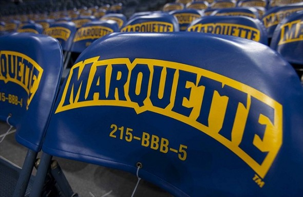 Nov 28, 2011; Milwaukee, WI, USA; The Marquette Golden Eagles logo on seats prior to the game against the Jacksonville Dolphins at the Bradley Center. Marquette defeated Jacksonville 88-56. Mandatory Credit: Jeff Hanisch-USA TODAY Sports