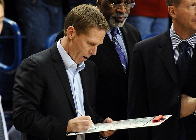 Dec. 1, 2012; Spokane, WA, USA; Gonzaga Bulldogs head coach Mark Few draws up a play during the first half against the Pacific Tigers at the McCarthey Athletic Center. Mandatory Credit: James Snook-USA TODAY Sports
