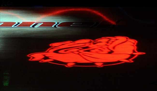Dec. 19, 2012; Spokane, WA, USA; A Gonzaga Bulldogs logo is shown before a game against the Campbell Fighting Camels at the McCarthey Athletic Center. Mandatory Credit: James Snook-USA TODAY Sports