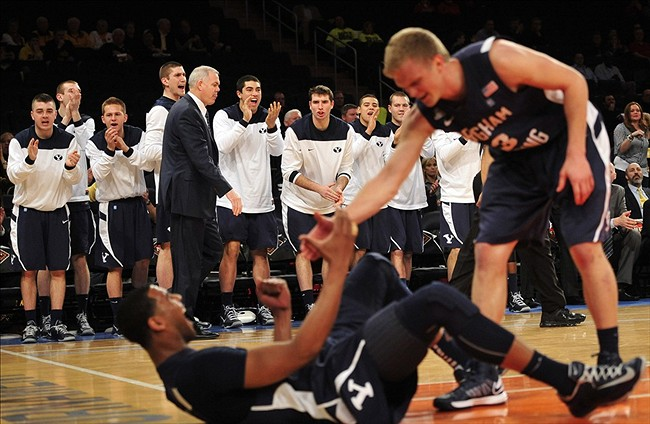 Apr 2, 2013; New York, NY, USA; The Brigham Young Cougars bench reacts after Brandon Davies (0) draws a foul against the Baylor Bears during the first half of the NIT Tournament Semi-Final at Madison Square Garden. Mandatory Credit: Joe Camporeale-USA TODAY Sports