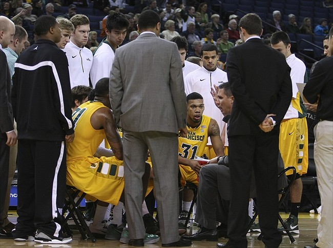 November 09, 2012; Oakland, CA, USA; San Francisco Dons head coach Rex Walters speaks to his players during a timeout against the Stanford Cardinal during the first half at Oracle Arena. Mandatory Credit: Kelley L Cox-USA TODAY Sports