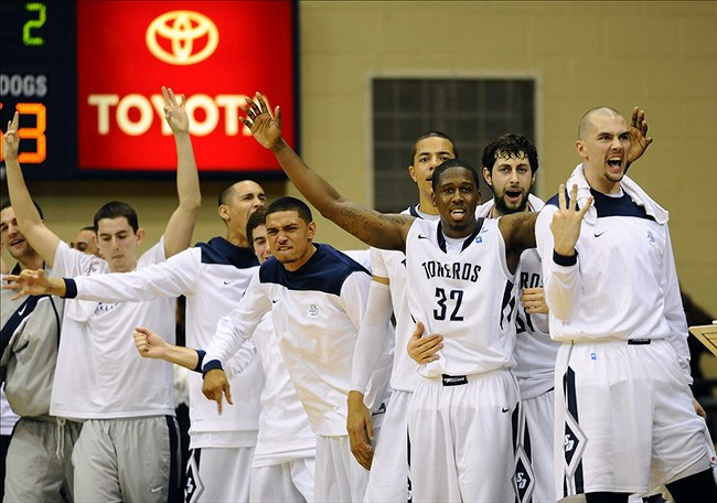 February 2, 2013; San Diego, CA, USA; San Diego Toreros players react after taking a lead during the second half against the Gonzaga Bulldogs at Jenny Craig Pavilion. Gonzaga won 65-63. Mandatory Credit: Photo By Christopher Hanewinckel-USA TODAY Sports