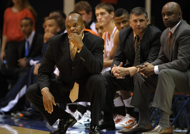 Jan 21, 2012, Malibu, CA, USA; Pepperdine Waves coach Marty Wilson reacts during the game against the BYU Cougars at Firestone Fieldhouse. BYU defeated Pepperdine 77-64. Mandatory Credit: Kirby Lee/Image of Sport-USA TODAY Sports