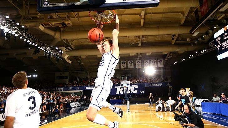 BYUcougars.com - Freshman Eric Mika won the dunk contest at the inaugural Boom Shakalaka: The BYU Basketball Showcase. For more photos, check out the gallery on Facebook.com/BYUBasketball. (Photo by Jaren Wilkey/BYU Photo)