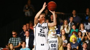 BYUcougars.com - Junior Skyler Halford won the 3-point shootout at the inaugural Boom Shakalaka: The BYU Basketball Showcase. For more photos, check out the gallery on Facebook.com/BYUBasketball. (Photo by Jaren Wilkey/BYU Photo)