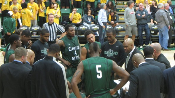 The Cleveland State Vikings take a late timeout during a match up against the San Francisco Dons. USF would defeat CSU to a final score of 91-82. (Photo by James Stapleton)
